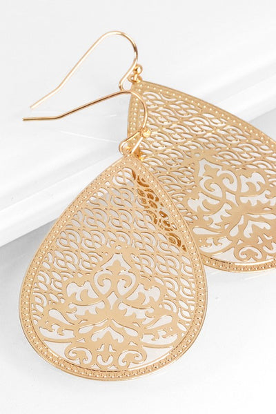 Metal Teardrop filigree dangle earring