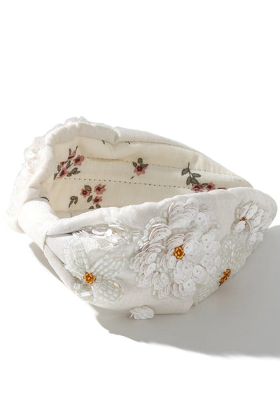 Flower Embroidered Cloth Headband