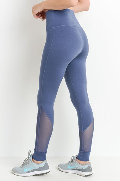 Highwaist Slanted Mesh Full Length Legging