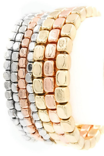 Seven Layer beaded metal stretch bracelet