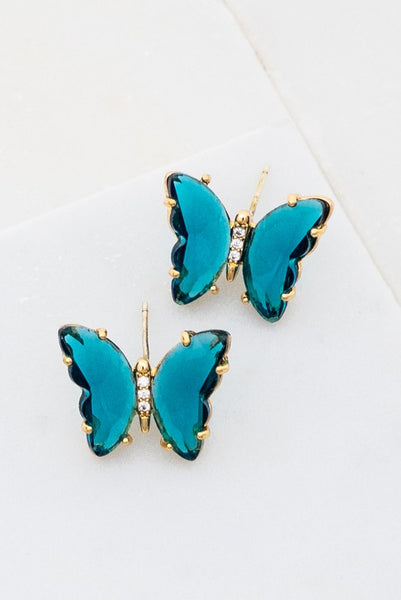 Gemstone Butterfly Stud Earrings