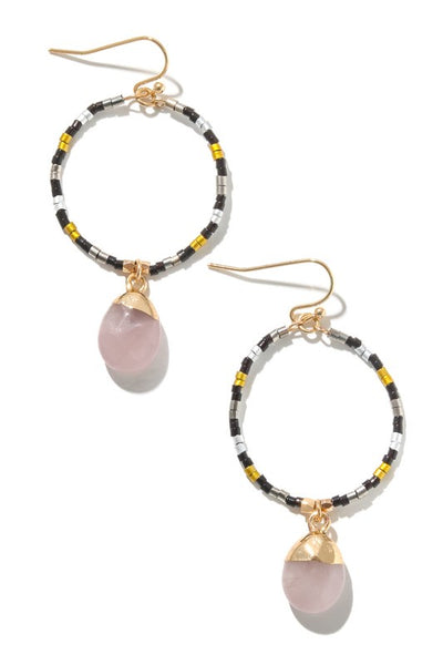 Circle Beaded Stone Drop Earrings