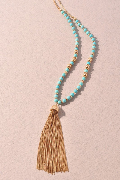 Turquoise Beaded Necklace with Tassel