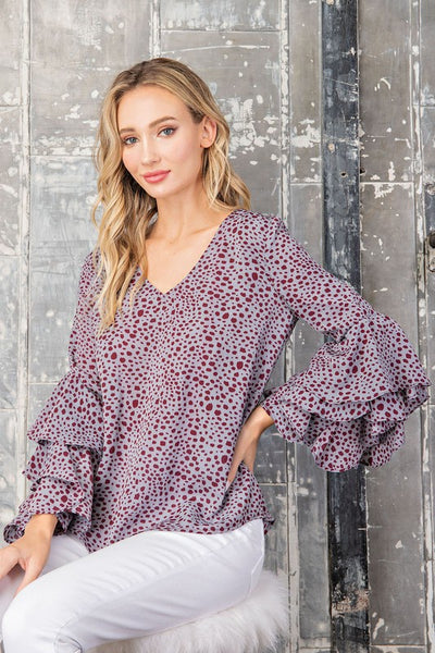 Spotted Ruffle Sleeve Blouse
