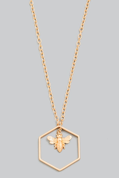 Bee Hexagon Pendant Necklace