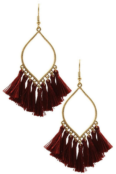 Textured Metal teardrop cotton tassel Earrings