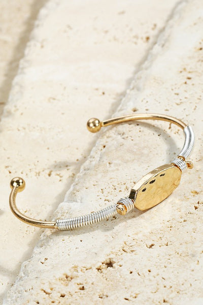 Hammered Metal Oval Charm Cuff Bracelet