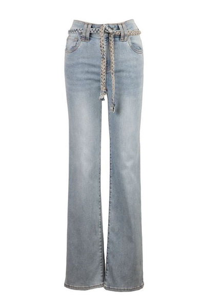 Chrissie High Rise Slim Straight with Braided Belt
