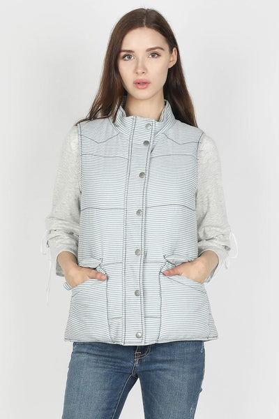 Stripe Washed Tencil Puffy Vest