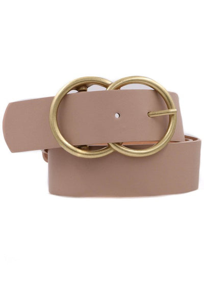 Faux Leather Double Ring Buckle.