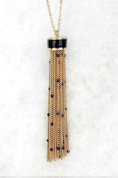 Seed bead and chain tassel pendant long necklace
