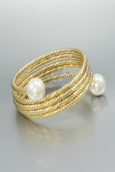 Textured Metal Coil Bracelet with Pearl Ends