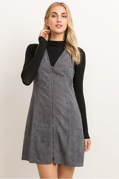 Zip Up Corduroy Mini Dress