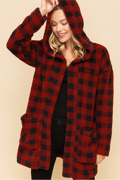 Plaid Fuzzy Hooded Jacket