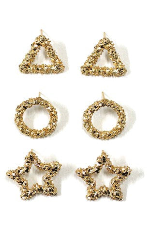 Gold Post Geometric Earring