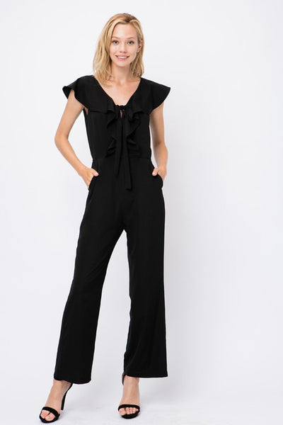 Jumpsuit with Front Ruffle & Tie