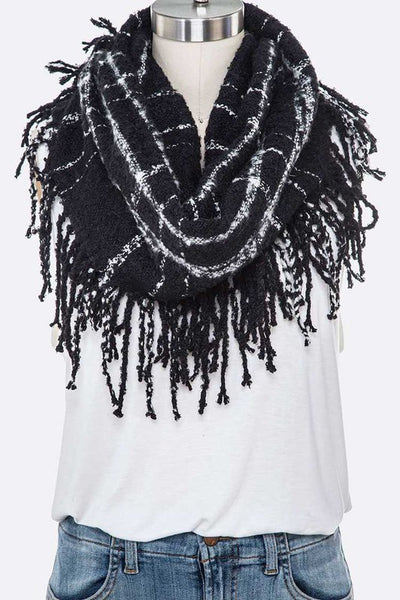 Thin Plaid Fringe Infinity Scarf