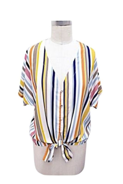 Multi Color Stripe Tie Front Top