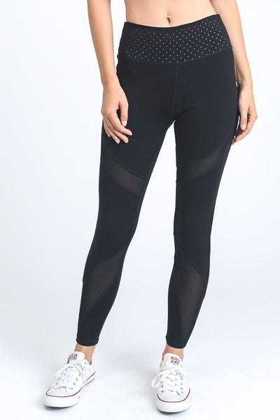 Mixed Mesh Color Contrast Leggings