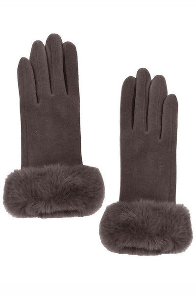 Solid Touch Gloves with Faux Fur Cuffs
