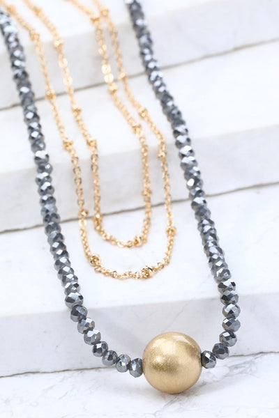 Triple Layer Saturn Charm Necklace