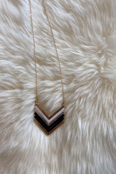 Metal Coated Chevron Necklace