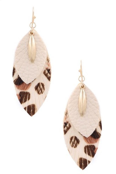 Faux Leather Leopard Drop Earrings