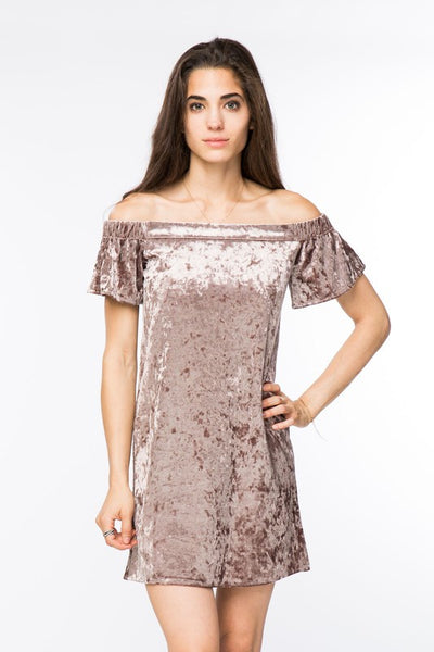 Velvet Off the Shoulder Dress
