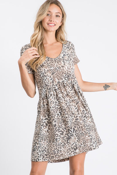 Animal Print Short Sleeve Dress