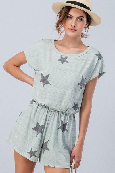 Star Print Romper with Smocked Waist