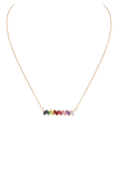 Glass bar pendant necklace