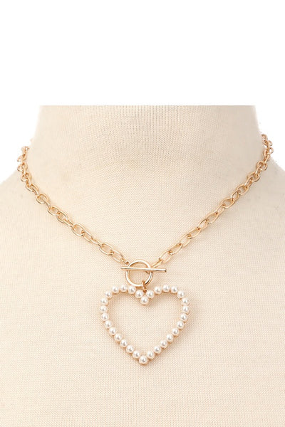 Heart Charm Chain Link Neclace