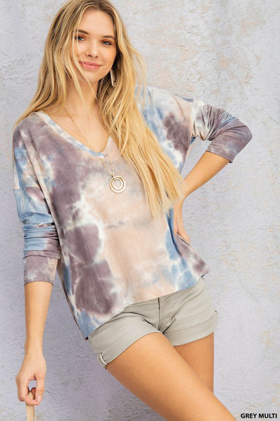 Ribbed Tie Dye Long Sleeve Top