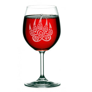 Personalized Hand Etched Bear Paw Wine Glass