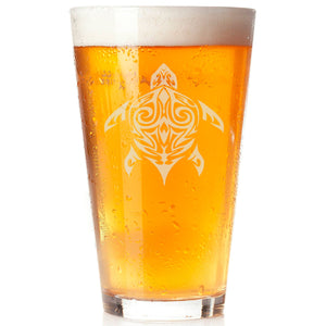 Turtle Pint Glass, hand etched, Tribal Sea Turtle, Persoanlize - The Personalize Shop