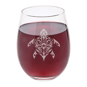 Turtle stemless wine glass. Hand Etched, Personalize - The Personalize Shop