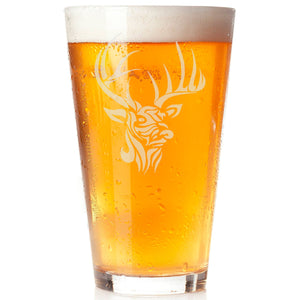 Hand Etched Personalizable Buck Pint Glass - The Personalize Shop