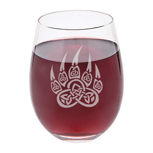 Personalized Tribal Bear Paw Stemless Wine Glass.. - The Personalize Shop