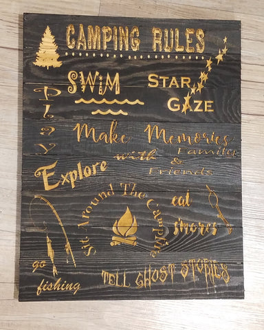 Camping Rules Sign - The Personalize Shop