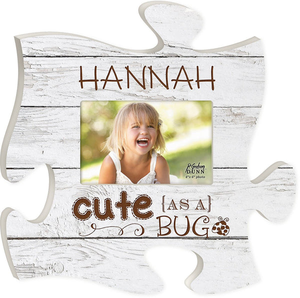 Vintage Wood Personalized Puzzle Piece Picture Frame. - The Personalize Shop