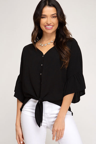 Flounce Button Down Top