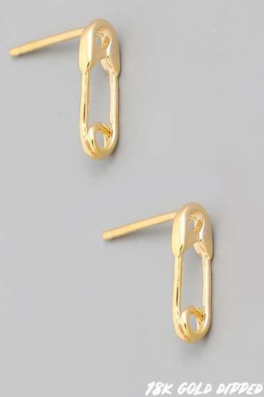 Mini Safety Pin Earrings in Gold