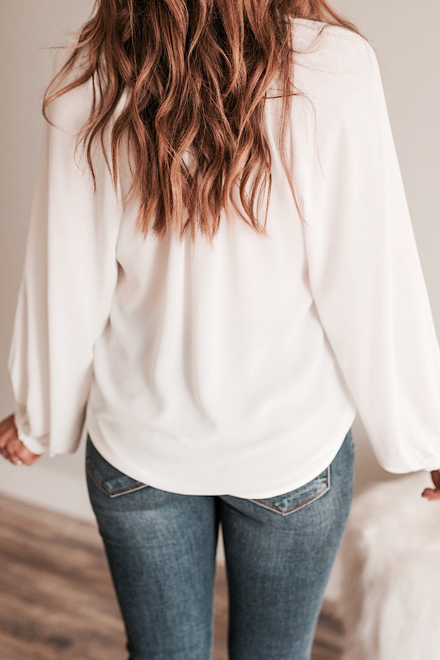 Balloon Sleeve Blouse in Off White