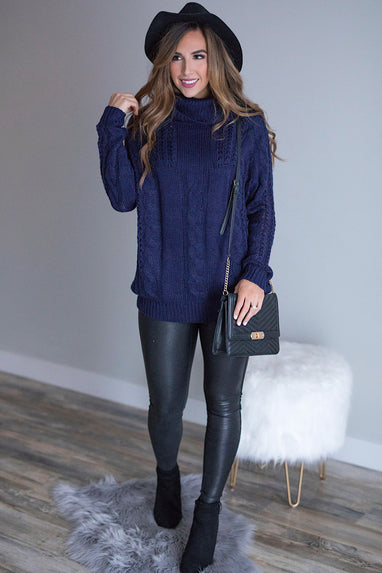 Cowl Neck Knit Sweater in Navy