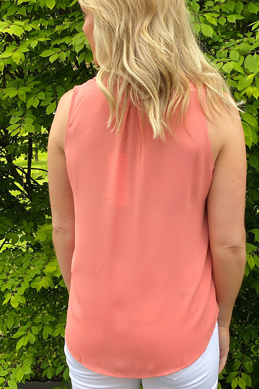 The Basics Sleeveless Blouse in Coral Terra