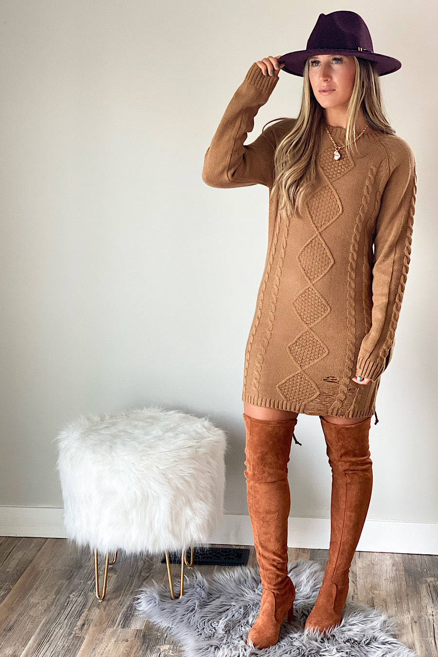 Mountain Views Cable Sweater Dress