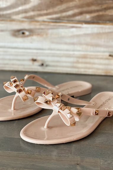 Studded Bow Jelly Sandals