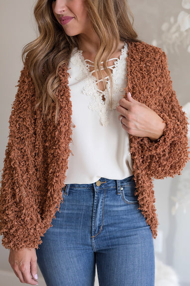 Shaggy Popcorn Shrug Cardigan