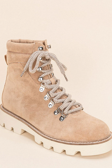 Arlene Combat Lace Up Boots in Tan