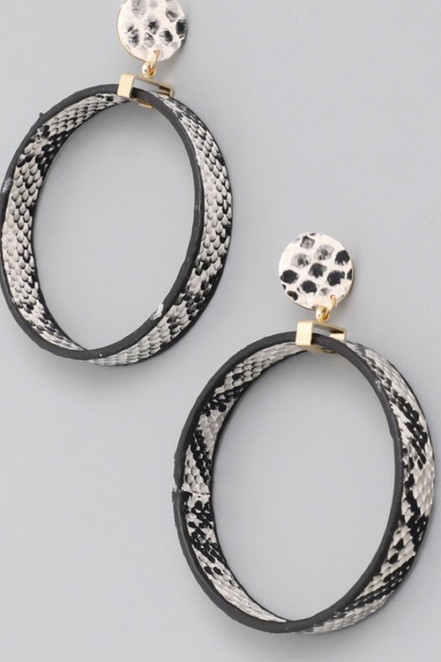 Snake Print Earrings in Grey, Black or Tan
